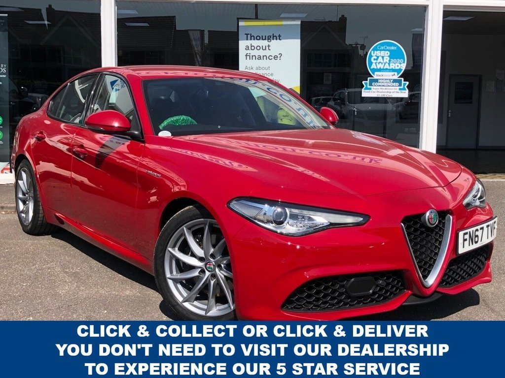 USED 2017 67 ALFA ROMEO GIULIA 2.0 TB VELOCE 4d 5 Seat Petrol Sports Saloon AUTO with Blistering 277 BHP Performance in the Best Colour Alfa Red with Black Veloce Heated Leather Sports Seats Sat Nav DAB Digital Radio new Upgraded Alloys new Tyres Gear Change Paddles on Steering Wheel Harman Kardon Upgraded Sound System Convenience Pack with Alfa DNA Selctive Driving Modes and Full Alfa Romeo Service History What a Car to Drive this is...Now Ready to Finance and Drive Away Today FULL ALFA ROMEO SERVICE HISTORY