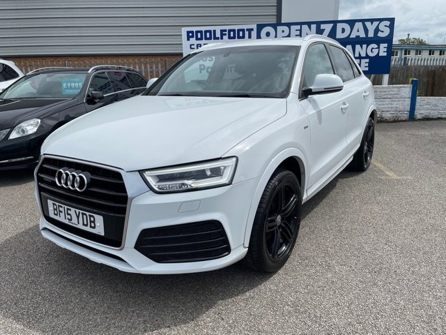 USED 2015 15 AUDI Q3 2.0 TDI QUATTRO S LINE PLUS 5d 182 BHP FINANCE ARRANGED**PART EXCHANGE WELCOME**PART LEATHER*PARKING SENSORS*CRUISE*DAB*BLUETOOTH*HEATED F SEATS
