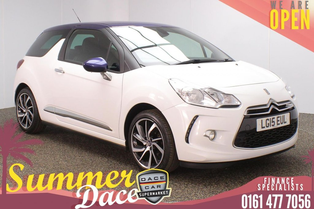USED 2015 15 CITROEN DS3 1.2 PURETECH DSTYLE PLUS S/S 3DR 109 BHP FULL SERVICE HISTORY + £20 12 MONTHS ROAD TAX + BLUETOOTH + CRUISE CONTROL + CLIMATE CONTROL + MULTI FUNCTION WHEEL + PRIVACY GLASS + AUX/USB PORTS + ELECTRIC WINDOWS + ELECTRIC/HEATED/FOLDING DOOR MIRRORS + 17 INCH ALLOY WHEELS
