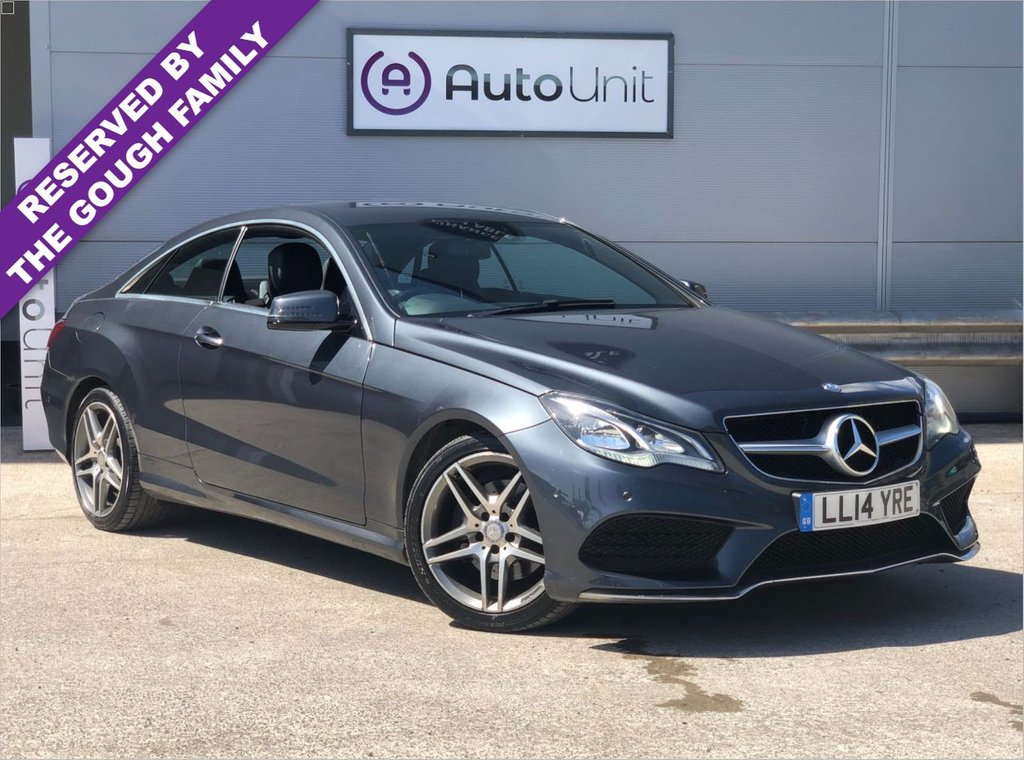 USED 2014 14 MERCEDES-BENZ E-CLASS 2.1 E220 CDI AMG SPORT 2d 170 BHP MERCEDES HISTORY + LEATHER + FRONT AND REAR SENSORS + SAT NAV + DAB + BLUETOOTH INC. AUDIO PLAYER