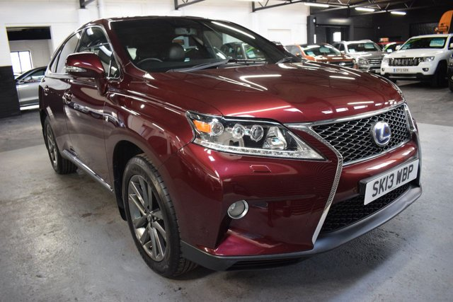 USED 2013 13 LEXUS RX 3.5 450H F SPORT 5d 295 BHP HYBRID 4X4 4X4 HYBRID - STUNNING LOW MILEAGE XAMPLE - MICA BURUNDY RED - ONE OWNER FROM NEW - LEATHER - NAV - HEATED SEATS - PRIVACY - POWERBOOT