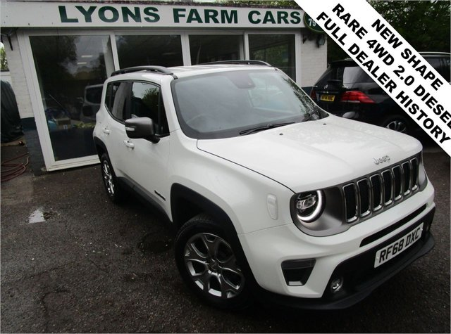 USED 2018 68 JEEP RENEGADE 2.0 MULTIJET II LIMITED 4WD 5d 140 BHP FOUR WHEEL DRIVE *VERY RARE CAR* Full Jeep Main Dealer Service History + Just Serviced, One Owner, NEW MOT, Four Wheel Drive, Balance of Jeep Manufacturer Warranty until November 2021