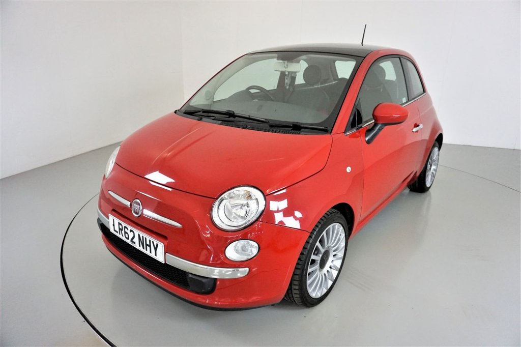 USED 2012 62 FIAT 500 0.9 LOUNGE DUALOGIC 3d AUTO-2 FOMRER KEEPERS-PANORAMIC ROOF-REAR SENSORS-ALLOY WHEELS