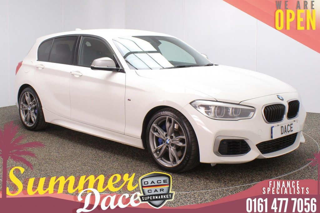 USED 2018 18 BMW 1 SERIES 3.0 M140I 5DR 1 OWNER AUTO 335 BHP FULL MAIN DEALER SERVICE HISTORY + DAKOTA LEATHER SEATS + SATELLITE NAVIGATION + BLUETOOTH + CRUISE CONTROL + CLIMATE CONTROL + MULTI FUNCTION WHEEL + PRIVACY GLASS + LED HEADLIGHTS + DAB RADIO + USB PORT + ELECTRIC WINDOWS + ELECTRIC DOOR MIRRORS + 18 INCH ALLOY WHEELS
