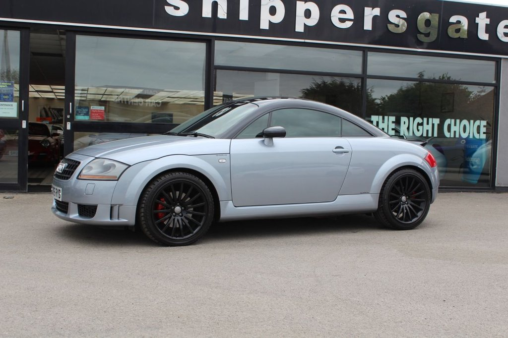 USED 2005 05 AUDI TT 1.8 QUATTRO SPORT 3d 236 BHP Avus Silver Metallic, Contrasting Black Roof, TT Quattro Sport 240 Full Service History, Recaro Bucket Seats, 2 Keys and Book Pack, BOSE Music System, Front Arm Rest, Cheaper Tax Band,  Polished aluminium sill trims, Height/reach adjustable steering column,  Driver's information system, Warning triangle, Anti lock brake system + Electronic Brake force Distribution, Electronic Differential Lock + traction control, First aid kit, Driver and passenger airbags.