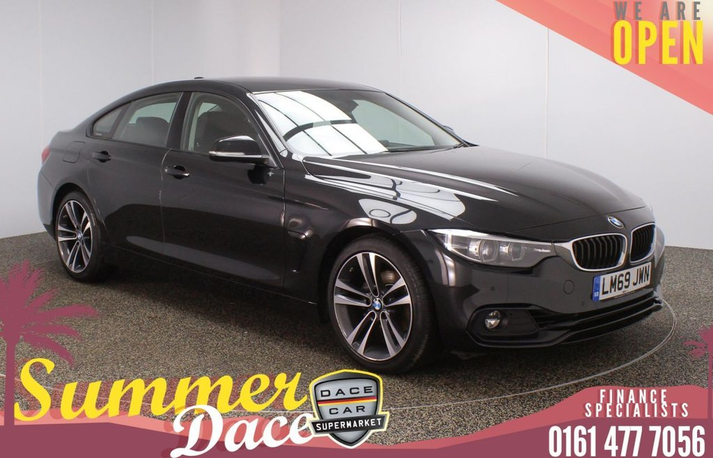 USED 2019 69 BMW 4 SERIES GRAN COUPE 2.0 420I SPORT GRAN COUPE 1 OWNER 4DR 181 BHP FULL MAIN DEALER SERVICE HISTORY + HEATED LEATHER SEATS + SATELLITE NAVIGATION + PARKING SENSOR + HEATED STEERING WHEEL + BLUETOOTH + CRUISE CONTROL + CLIMATE CONTROL + MULTI FUNCTION WHEEL + LED HEADLIGHTS + DAB RADIO + USB PORT + ELECTRIC WINDOWS + ELECTRIC DOOR MIRRORS + 18 INCH ALLOY WHEELS