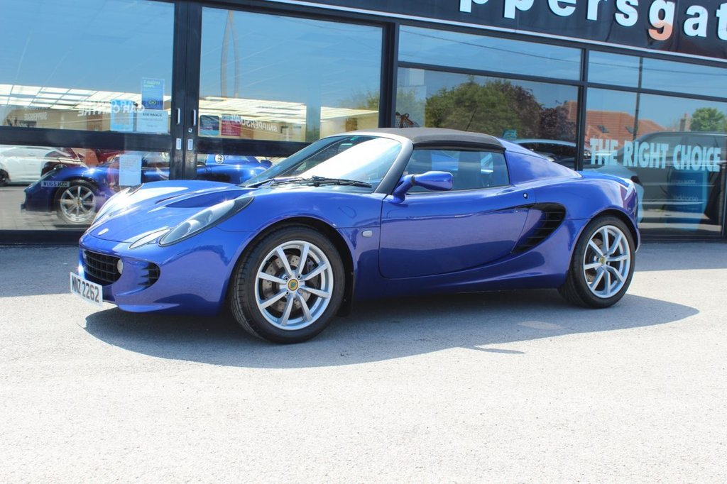 USED 2006 55 LOTUS ELISE 1.8 111S 2d 156 BHP Magnetic Blue Metallic, Black Leather Interior, Remote Central Locking, Electric Winsows, Carpet Mat , Blaupunkt CD Player, Toyp T1R Tyres, Alcantara Gear Shift Surround, K&N Induvtion System, Janspeed Sports Exhaust System, Immobiliser, 2 Keys, Service History and Book Pack.