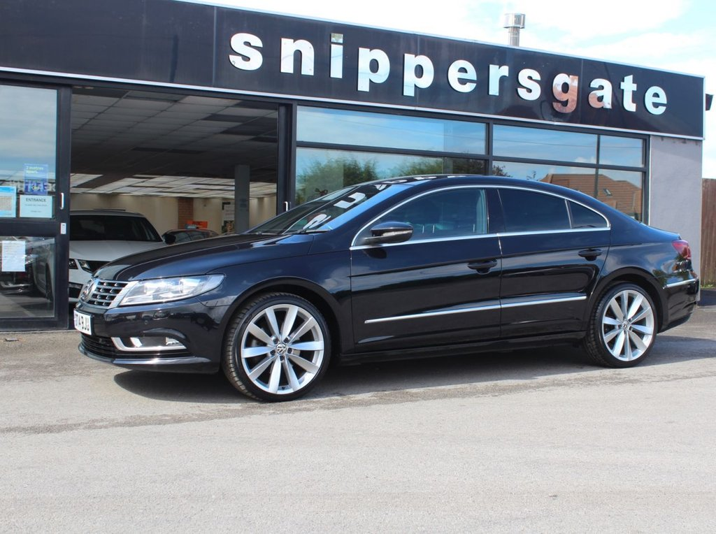 """USED 2014 14 VOLKSWAGEN CC 2.0 GT TDI BLUEMOTION TECHNOLOGY DSG 4d 175 BHP Metallic Black, Full Red Leather Interior, 19"""" Alloy Wheels Heated Seats, Satellite Navigation, Front and Rear Parking Sensors, Bluetooth Telephone Equipment, Hill Hold, Electric Heated Mirrors, Cruise Control, Remote Central Locking, Electric Windows, Black Roof Lining, Tyre Pressure Warning System, 2 Keys and Book Pack, Full Service History."""