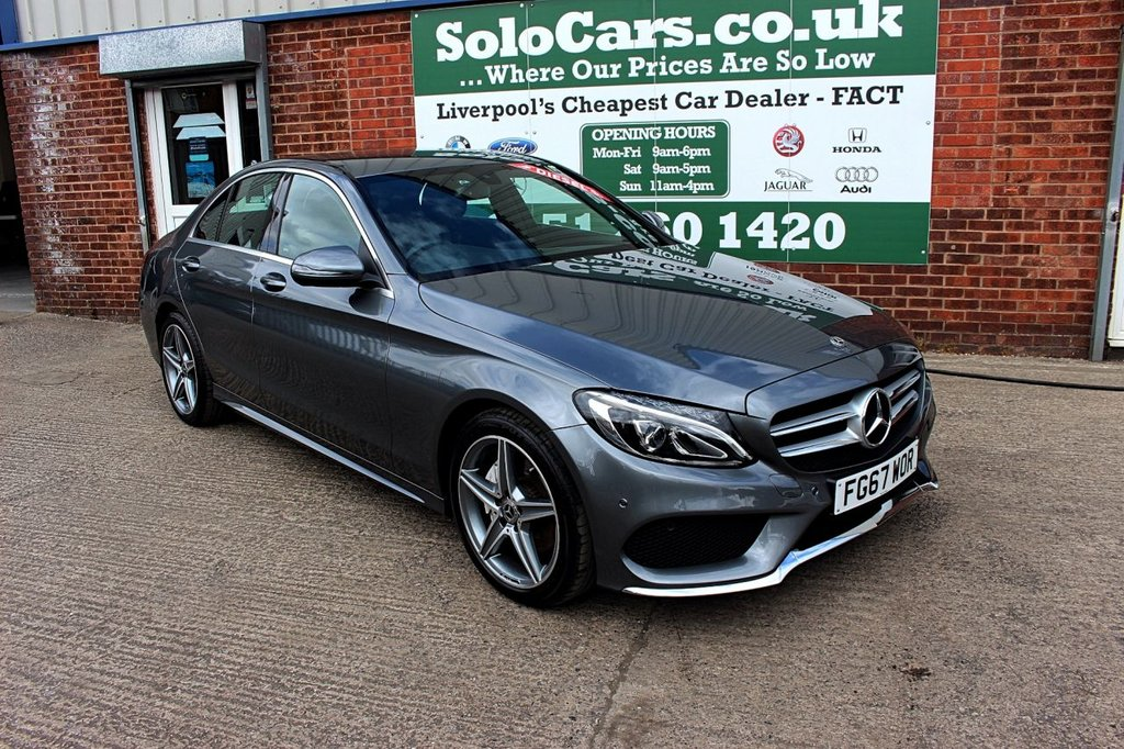 USED 2017 67 MERCEDES-BENZ C-CLASS 2.1 C 220 D AMG LINE 4d AUTO 170 BHP +NAV +HEATED LEATHER +CAMERA.