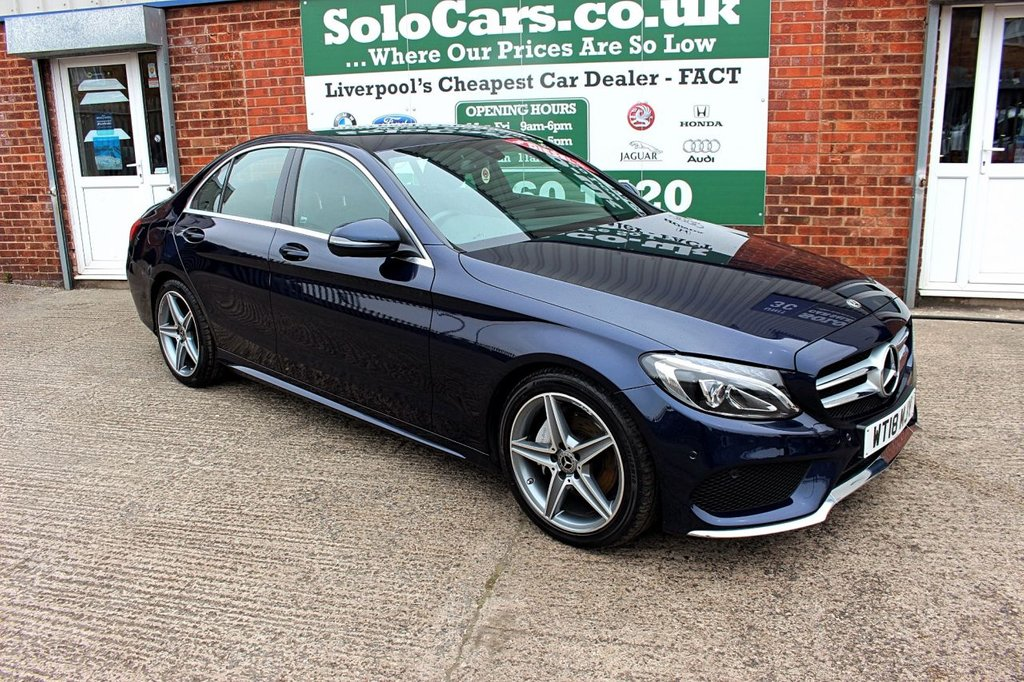 USED 2018 18 MERCEDES-BENZ C-CLASS 2.1 C 220 D AMG LINE 4d AUTO 170 BHP +NAV +HEATED LEATHER +CAMERA.