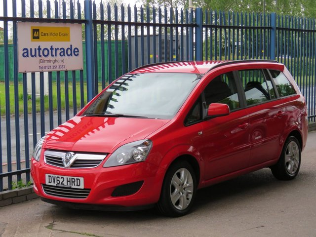 USED 2012 62 VAUXHALL ZAFIRA 1.6 EXCLUSIV 5dr 113 7 Seater-Air conditioning-Roof rails Finance arranged Part exchange available Open 7 days