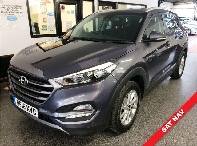 USED 2016 16 HYUNDAI TUCSON 1.7 CRDI SE NAV BLUE DRIVE 5d 114 BHP Only £30 Road Tax and only 31760 Miles!!. This Tucson is finished in Thunder grey metallic with Black heated cloth seats. It is fitted with power steering, reverse camera, remote locking, electric windows, mirrors with power fold, dual zone climate control, cruise control, heated front seats, lane departure and traffic speed limit notification, Touch screen Satellite Navigation, Bluetooth, LED Day lights,  Alloy wheels with alloy spare, DAB Stereo with Aux & USB ports and more.