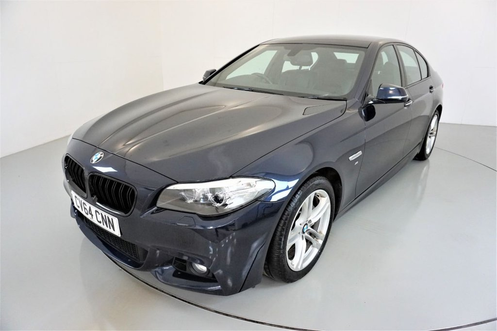 USED 2014 64 BMW 5 SERIES 3.0 530D M SPORT 4d-2 OWNER CAR-HEATED BLACK DAKOTA LEATHER-BLUETOOTH-SATNAV-PARKING SENSORS-DAB RADIO-CLIMATE CONTROL