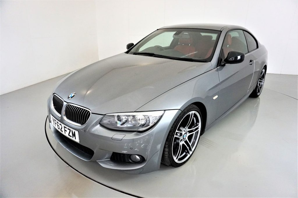 USED 2012 62 BMW 3 SERIES 2.0 320D SPORT PLUS EDITION 2d AUTO-2 OWNER CAR-HEATED CORAL RED DAKOTA LEATHER-UPGRADE 19