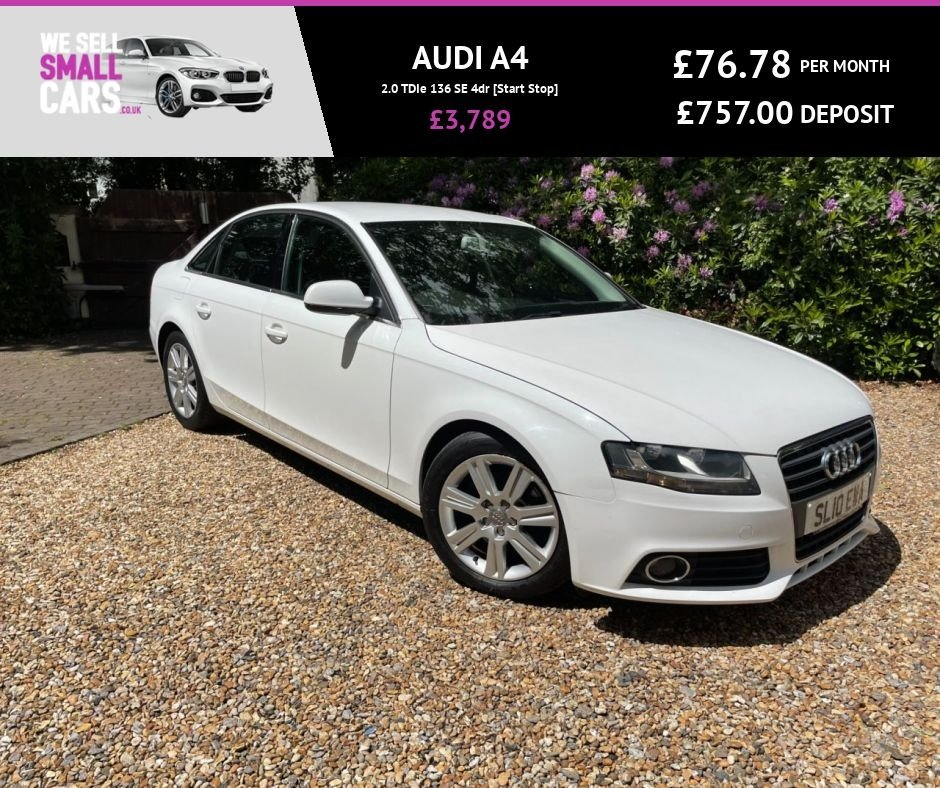 USED 2010 AUDI A4 2.0 TDIe 136 SE 4dr [Start Stop] FULL SERVICE HISTORY CLIMATE £30 TAX CRUISE CONTROL  ALLOYS BLUETOOTH