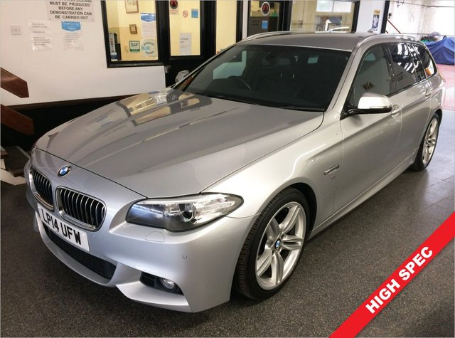 """USED 2014 14 BMW 5 SERIES 2.0 520D M SPORT TOURING 5d 181 BHP Fitted with Digital Cockpit, Media professional, Dakota black with exclusive stitching, electric memory heated seats and steering wheel, M Sport Plus pack, 19"""" M Sport Alloys, Harmon Kardon Sound upgrade, this 520d 2.0 M sport Touring 6 speed manual is finished in Glacier Silver metallic with full black Dakota leather trim, Pro Navigation, Bluetooth, DAB, climate control, cruise control, auto lights, Front & Rear Parking sensors and more. It comes with a complete BMW service history."""