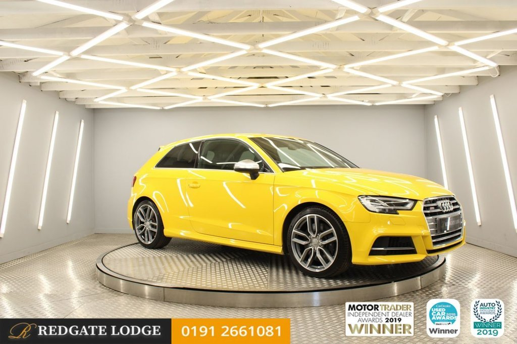 USED 2016 66 AUDI A3 2.0 S3 QUATTRO 3d 306 BHP RARE VEGAS YELLOW, PRIVACY GLASS, HEATED LEATHER, CRUISE, SAT/NAV...