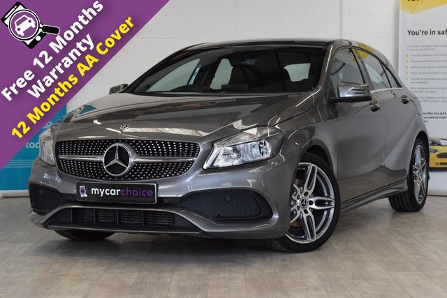 USED 2018 18 MERCEDES-BENZ A-CLASS 1.5 A 180 D AMG LINE 5d 107 BHP FULL SERVICE HISTORY, AUTO CLIMATE CONTROL, REVERSE CAMERA, PART LEATHER, METALLIC MOUNTAIN GREY, DAB RADIO, CRUISE CONTROL
