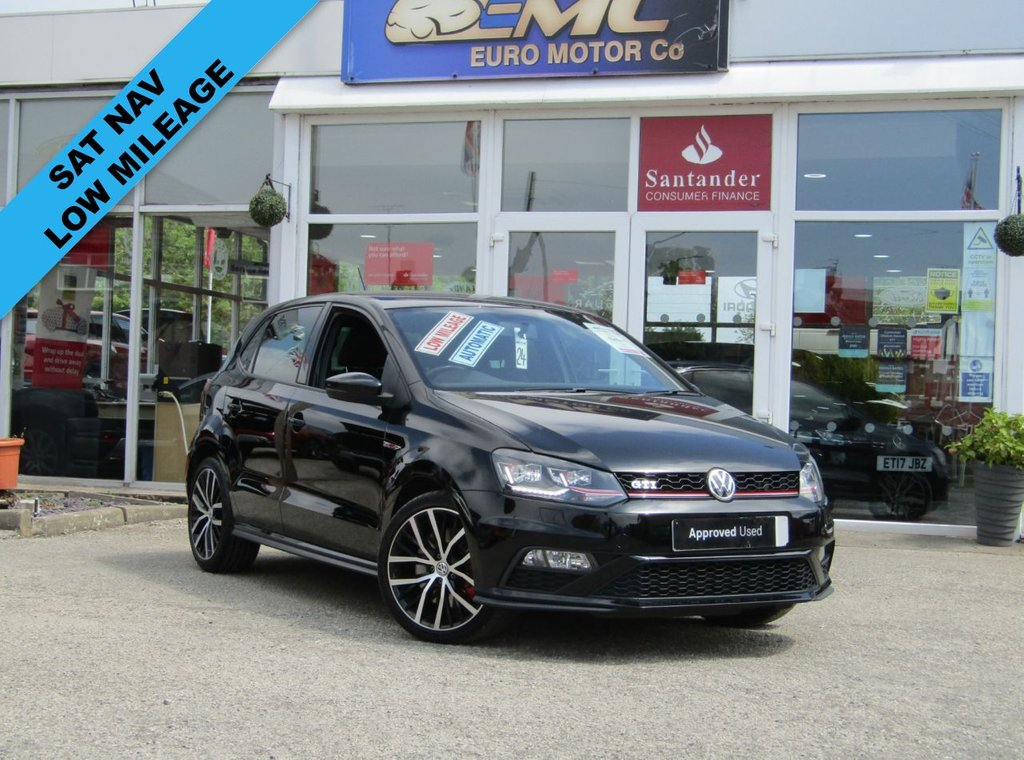 """USED 2016 16 VOLKSWAGEN POLO 1.8 GTI DSG 5d 189 BHP Finished in DEEP BLACK with contrasting retro cloth trim. This Polo is quick and great fun to drive. The Polo is one of the best selling and popular small cars around. It is very comfortable and practical, with a distinct upmarket feel to it. Features include SAT NAV, 17"""" Alloys, DAB, 2 Keys, B/Tooth, Daytime Run Lights and much more. Dealer serviced at 15291 miles, 23417 miles, 23737 miles, 24072 miles and at 29147 on 6/3/2021. 12 months MOT."""