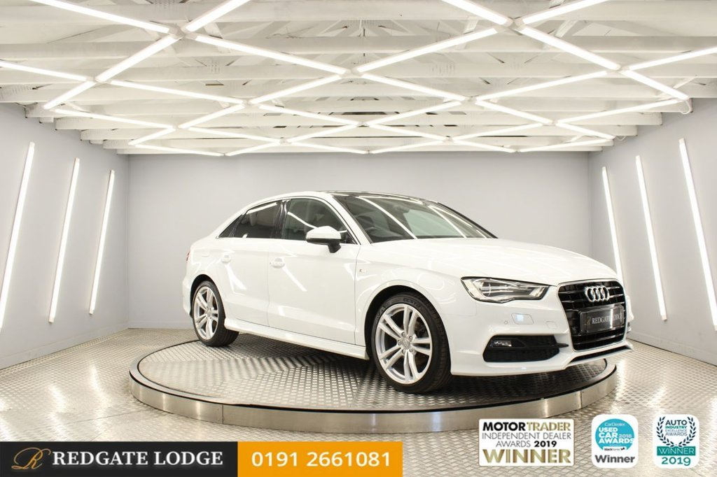 USED 2015 15 AUDI A3 1.4 TFSI S LINE 4d 148 BHP SAT/NAV, PAN ROOF, B&O, CRUISE CONTROL, HILL HOLD, FRONT AND REAR SENSORS, GLACIER WHITE, PRIVACY GLASS..