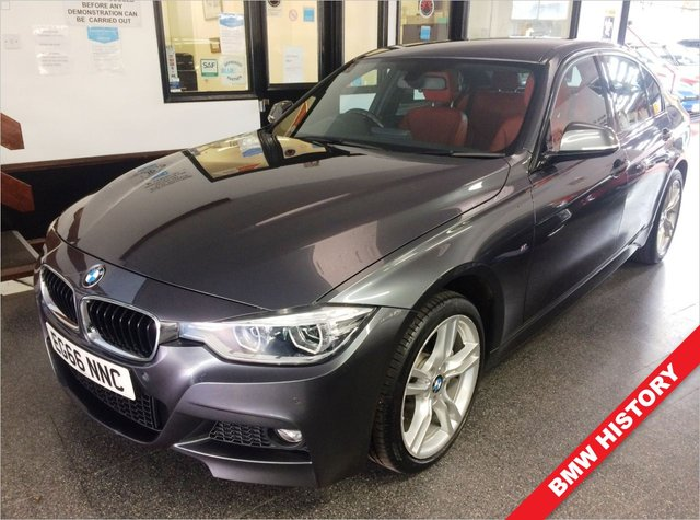 """USED 2016 66 BMW 3 SERIES 3.0 335D XDRIVE M SPORT 4d 308 BHP Wheels to be refurbished to a colour of your choice. (Gloss black looks great!). This 335D Saloon is finished in Metallic Mineral grey with Coral Red Dakota heated comfort pack Leather seats. It is fitted with LED Daylights and Headlights, remote locking, paddleshift electric windows and mirrors, dual zone climate control, cruise control, front/ rear parking sensors, Bluetooth, auto headlights, 18"""" 5 spoke alloy wheels, DAB CD Stereo with USB & Aux port and more."""
