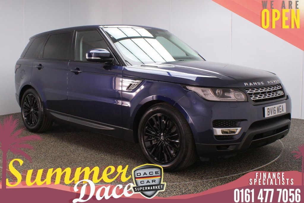 USED 2016 16 LAND ROVER RANGE ROVER SPORT 3.0 SDV6 HSE 5DR AUTO 306 BHP FULL MAIN DEALER SERVICE HISTORY + HEATED LEATHER SEATS + SATELLITE NAVIGATION + REVERSING CAMERA + PARKING SENSOR + HEATED REAR SEATS + BLUETOOTH + CRUISE CONTROL + CLIMATE CONTROL + MULTI FUNCTION WHEEL + PRIVACY GLASS + XENON HEADLIGHTS + ELECTRIC/MEMORY FRONT SEATS + DAB RADIO + AUX/USB PORTS + ELECTRIC WINDOWS + ELECTRIC/HEATED/FOLDING DOOR MIRRORS + 20 INCH ALLOY WHEELS