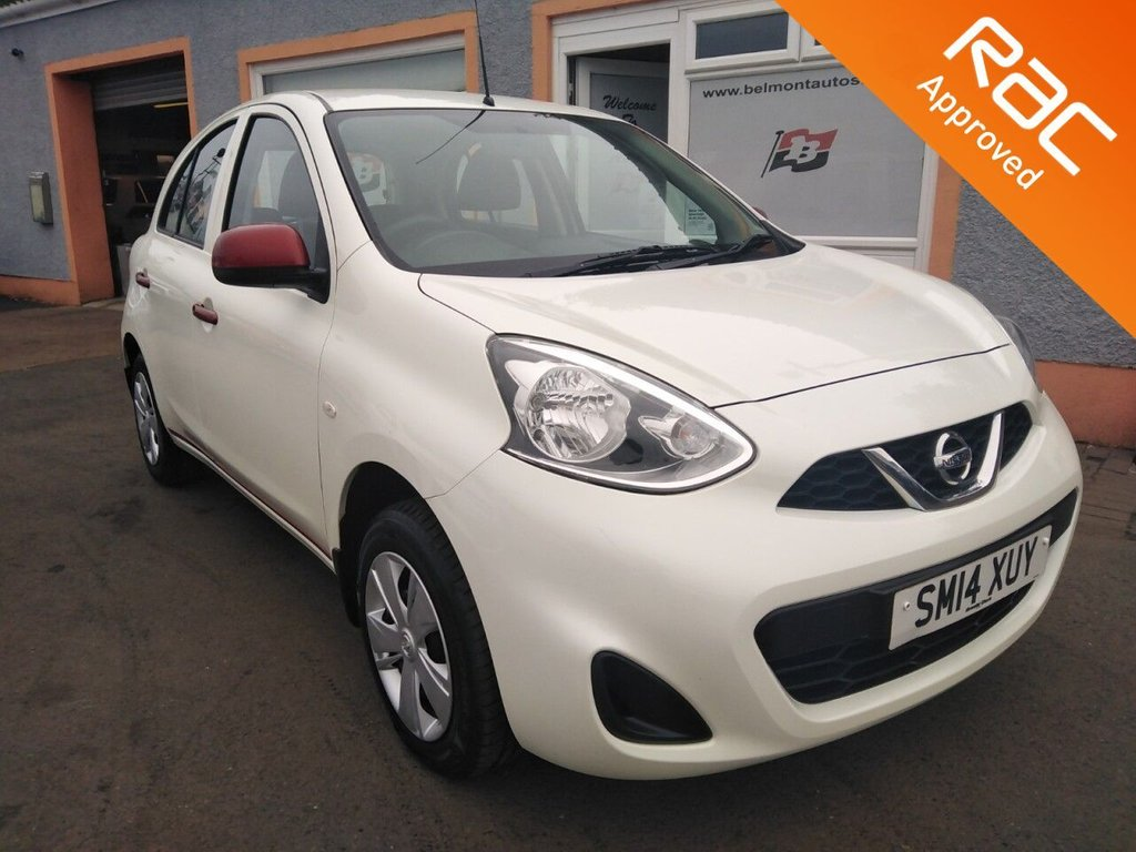 USED 2014 14 NISSAN MICRA 1.2 VISIA 5d 79 BHP Bluetooth, Media/Aux, Remote central locking, 2 tone White /Red Pearlescent paint, Free RAC Warranty, Free Rac Recovery Package