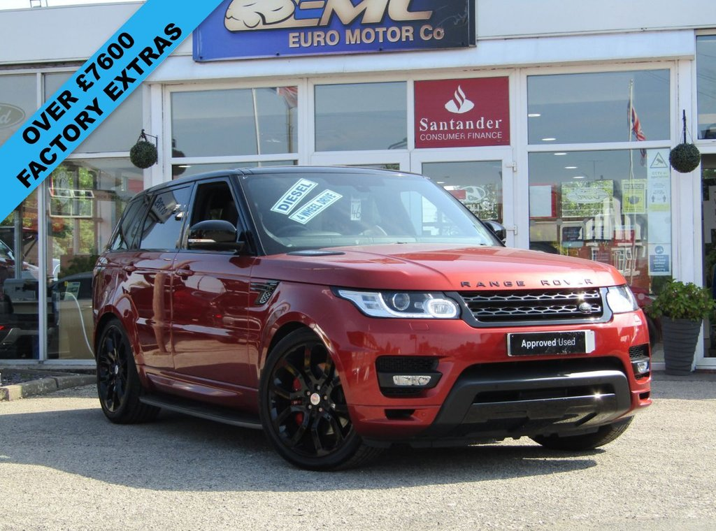 """USED 2013 63 LAND ROVER RANGE ROVER SPORT 3.0 SDV6 AUTOBIOGRAPHY DYNAMIC 5d 288 BHP Finished in CHILE RED METALIC with contrasting EBONY CLIMATE HEATED LEATHER SEATS. This Range Rover Sport is a luxurious top of the range SUV. This car is a good choice if you want a posh car that's brilliant for family life. Features include, Stealth Pack, 22"""" alloys, Side Steps, Rear view camera, Climate front and rear Leather Seats, Sat Nav, DAB, Cruise, 22"""" Alloys and much more. Dealer serviced at 12240 miles, 25619 miles, 44281 miles, 54466 miles, 64443 miles and at 76671 miles."""