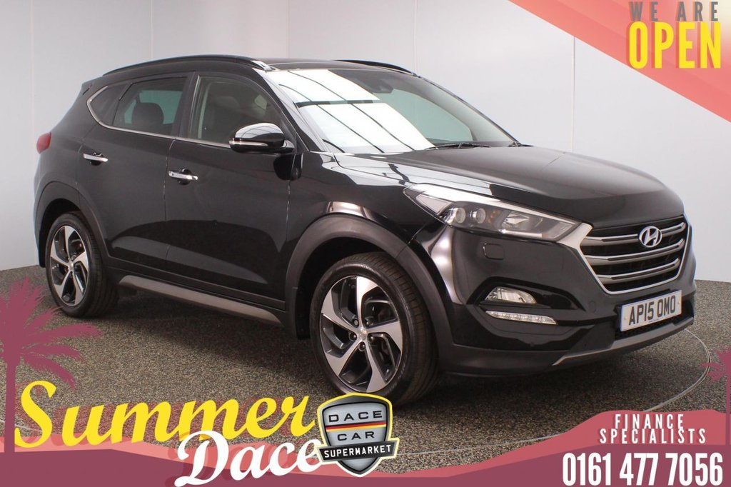 USED 2015 15 HYUNDAI TUCSON 2.0 CRDI PREMIUM SE 5DR 134 BHP FULL MAIN DEALER SERVICE HISTORY + AIR CONDITIONED LEATHER SEATS + SATELLITE NAVIGATION + PANORAMIC SUNROOF + REVERSING CAMERA + HEATED REAR SEATS + HEATED STEERING WHEEL + PARKING SENSOR + LANE ASSIST SYSTEM + BLIND SPOT MONITOR + BLIND SPOT MONITOR + BLUETOOTH + CRUISE CONTROL + CLIMATE CONTROL + MULTI FUNCTION WHEEL + LED HEADLIGHTS + PRIVACY GLASS + ELECTRIC FRONT SEATS + DAB RADIO + AUX/USB PORTS + ELECTRIC WINDOWS + ELECTRIC/HEATED/FOLDING DOOR MIRRORS + 19 INCH ALLOY WHEELS