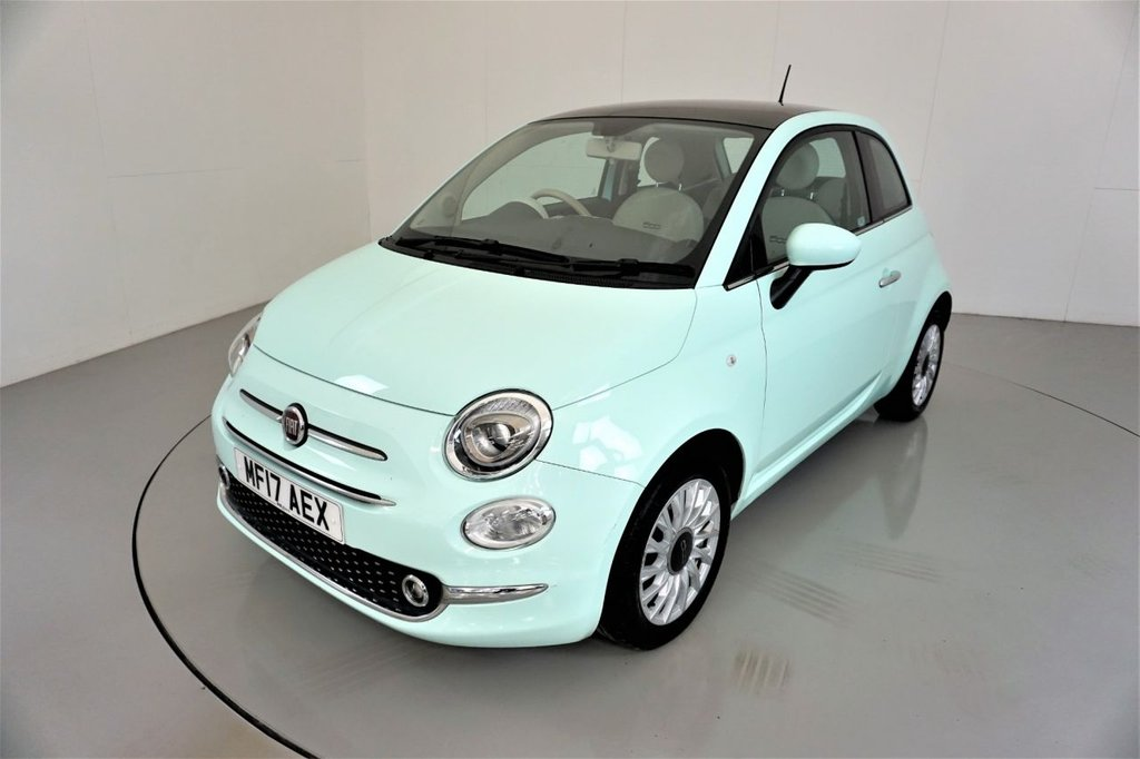 USED 2017 17 FIAT 500 1.2 LOUNGE 3d-1 OWNER CAR-PANORAMIC ROOF-BLUETOOTH-DAB RADIO