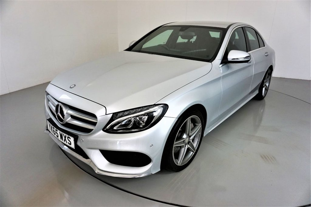 USED 2015 65 MERCEDES-BENZ C-CLASS 2.1 C250 D AMG LINE 4d AUTO-2 OWNER CAR-HEATED SEATS-BLACK LEATHER-18