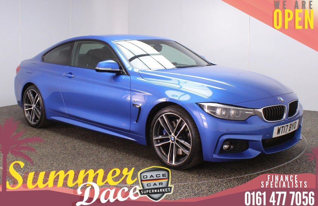 USED 2017 17 BMW 4 SERIES 3.0 430D M SPORT 2DR AUTO 255 BHP FULL MAIN DEALER SERVICE HISTORY + HEATED LEATHER SEATS + SATELLITE NAVIGATION PROFESSIONAL + REVERSING CAMERA + PARKING SENSOR + BLUETOOTH + CRUISE CONTROL + CLIMATE CONTROL + MULTI FUNCTION WHEEL + HARMAN/KARDON PREMIUM SPEAKERS + ELECTRIC/MEMORY FRONT SEATS + LED HEADLIGHTS + PRIVACY GLASS + DAB RADIO + ELECTRIC WINDOWS + ELECTRIC/HEATED/FOLDING DOOR MIRRORS + 19 INCH ALLOY WHEELS