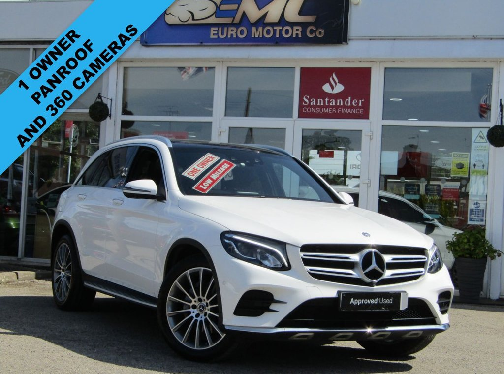 """USED 2018 18 MERCEDES-BENZ GLC-CLASS 2.1 GLC 250 D 4MATIC AMG LINE PREMIUM 5d 201 BHP Finished in POLAR WHITE  with contrasting EBONY HEATED ELECTRIC LEATHER trim. This Top of the Range GLC is an upmarket SUV with a quality interior and plenty of space inside. This SUV has arguably the poshest feeling cabin in its class. It has great Interior space and a generous size boot. Features include 20"""" Alloys, Pan Roof, Sat Nav, Heated Leather, DAB, B/Tooth, Rear View Camera, Power Boot and much more. Mercedes Dealer serviced at 16508 miles, 22794 miles and on arrival at 26078 miles"""