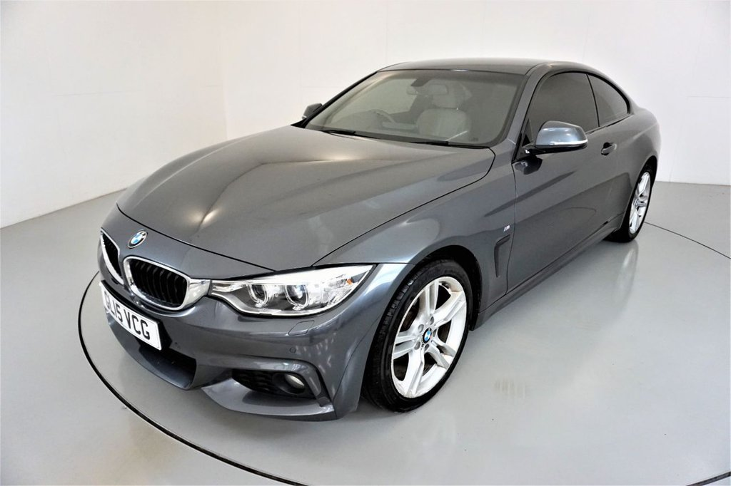 USED 2015 15 BMW 4 SERIES 2.0 420D M SPORT 2d-2 OWNER CAR-HEATED OYSTER DAKOTA LEATHER-PROFESSIONAL NAVIGATION-PARKING SENSORS-DAB RADIO-BLUETOOTH-CRUISE CONTROL-PUSH BUTTON START-CLIMATE CONTROL