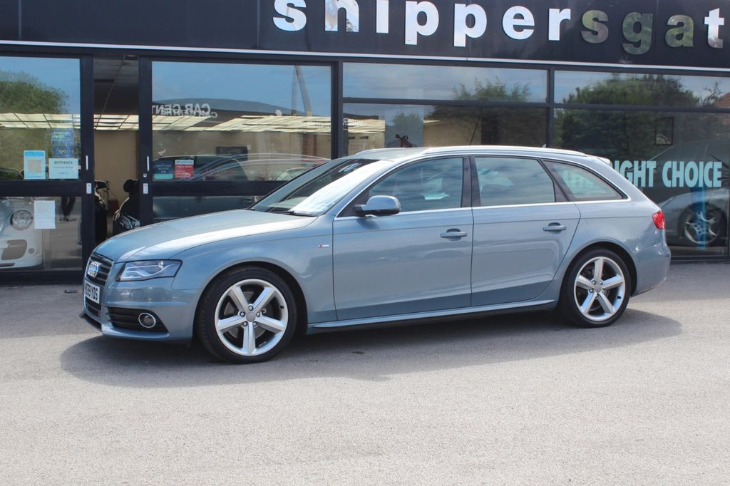 USED 2010 59 AUDI A4 2.0 AVANT TFSI QUATTRO S LINE 5d 208 BHP Sphere Blue Metallic, Bang & Olufsen Sound System, Satellite Navigation System, Heated Sports Seats, Audi Parking System Plus, Electric Folsing Heated and Auto Dimming Door Mirrors, Xenon Plus Headlights, Damping Control, Audi Drive Select, Light And RAin Sensor,  Audi Side Assist, Cruise Control, DAB Radio, Audi Music Interface, Mobile Telephone Preperation, Storage Pack, Auto Dimmig Rear View Mirror, Three Zone Automatic Air Conditioning, LED Rear Lights, Headlight Washers, Black Headlining. I