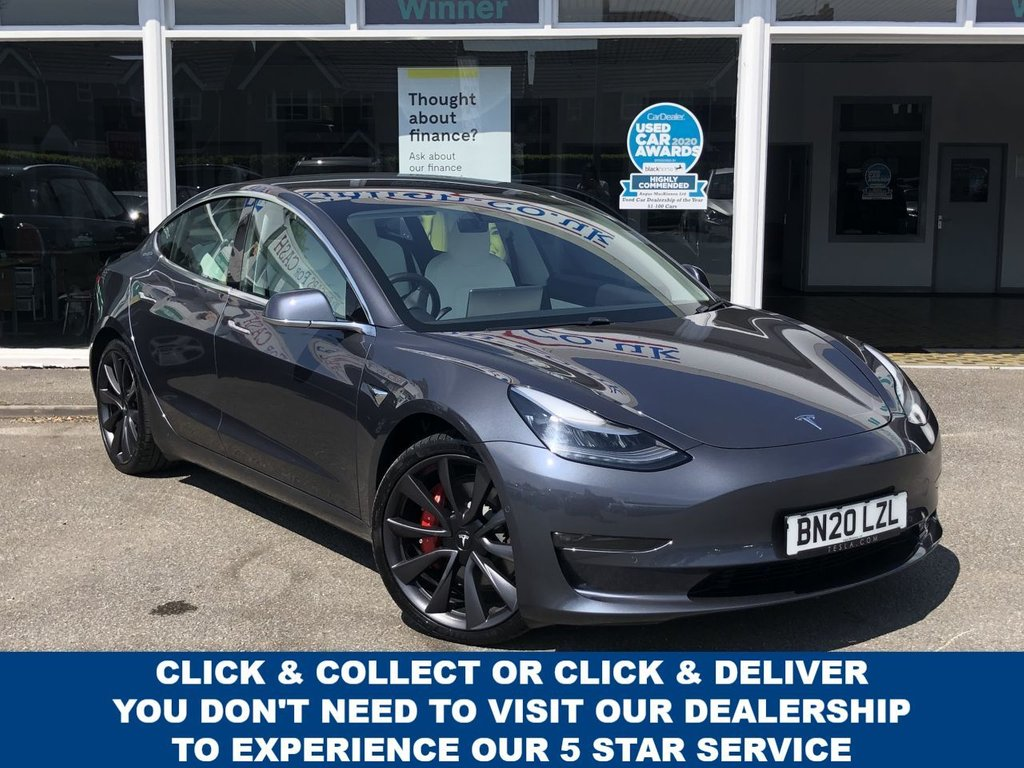 USED 2020 20 TESLA Model 3 Long Range AWD Performance 4d 5 Seat Saloon 4x4 AUTO with 483 BHP Blistering Dual Motor Perfomance Beat the Waiting List AVAILABLE NOW with Probably the Highest Spec Example For Sale in the UK with Every Option Selected at Point of Order inc Full Self Drive Capability Autopilot Performance Upgrade Costing Over �£15,000 plus 20inch Performance Grey Alloys includes 3 Chargers with a new unboxed genuine Telsa Home Kit Please Read our Advert in Full to Appreciate this Unique Car Now Ready to Finance and Drive Away PERFORMANCE AWD 4d 5 Seat Saloon 4x4 AUTO with 483 BHP Blistering Perfomance with Probably the Highest Spec Example For Sale in the UK with Every Option Selcted at Point of Order Please Read our Advert in Full to Appreciate this Unique Car Now Ready to Finance and Drive Away