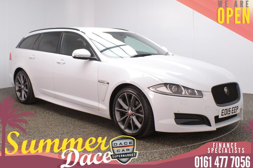 USED 2015 15 JAGUAR XF 2.2 D R-SPORT SPORTBRAKE 5DR AUTO 200 BHP FULL SERVICE HISTORY + HEATED LEATHER SEATS + SATELLITE NAVIGATION + REVERSING CAMERA + PARKING SENSOR + BLUETOOTH + CRUISE CONTROL + CLIMATE CONTROL + MULTI FUNCTION WHEEL + XENON HEADLIGHTS + PRIVACY GLASS + DAB RADIO + ELECTIC FRONT SEATS + AUX/USB PORTS + ELECTRIC WINDOWS + ELECTRIC DOOR MIRRORS + 19 INCH ALLOY WHEELS +