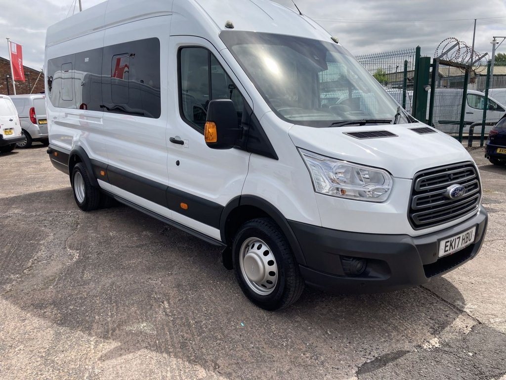 USED 2017 17 FORD TRANSIT 2.2 460 TREND H/R BUS 18 STR 124 BHP 1 OWNER FSH NEW MOT AIR CON SAT NAV  PDC ICE PACK FREE WARRANTY INCLUDING RECOVERY AND ASSIST NEW MOT AIR CONDITIONING SATELLITE NAVIGATION PDC ICE PACK