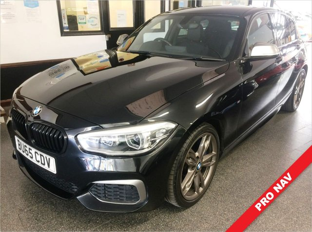 USED 2015 65 BMW 1 SERIES 3.0 M135I 5d 322 BHP Supplied with 2 new rear tyres, a service, 12 months MOT (advisory notice free) and 6 months Insured warranty along with breakdown cover. Fitted with Professional Navigation Media. This M135i 3.0 Petrol is finished in Black Sapphire with Heated Black Dakota leather comfort seats. It is fitted with black kidney grilles, with anthracite bumper inserts and mirrors, rear park assist, privacy glass, power steering, remote locking, electric windows and mirrors, climate Air Conditioning + More!