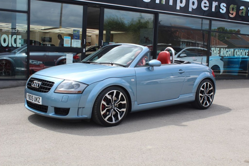 USED 2005 05 AUDI TT 3.2 ROADSTER V6 QUATTRO 2d 247 BHP Glacier Blue Metallic, Full Red Leather Recaro Bucket Seats (Standard Seats Also Available If Preferred) Pioneer Upgraded Music System, Upgrade Alloy Wheels, Upgraded Steering Wheel, Upgraded Interior Trim In Carbon Effect (Standard Trim Items Also With Car) BOSE Speaker System, Auto Dim Rear View Mirror, Xenon Headlights, Electrically Powered Soft Top, Electrically Adjustable Soft Top, 2 Keys and Book Pack, Extensive Service History Including Recent BIG Service Including Haldex Oil Change.
