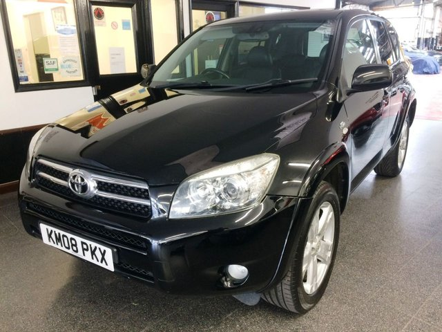 USED 2008 08 TOYOTA RAV4 2.2 T180 D-4D 5d 175 BHP Fitted with Pioneer NAV/DAB/Reverse camera, this Rav4 is finished in Black with Heated Black leather electric seats. It has 2 keys, power steering, remote locking, electric sunroof, climate control, cruise control, electric windows, mirrors with power fold, CD Stereo, alloy wheels, style pack, tinted glass and more., It has an excellent service history consisting of Toyota service stamps/invoices as well as independent garage invoices The current Mot runs till June 2022.