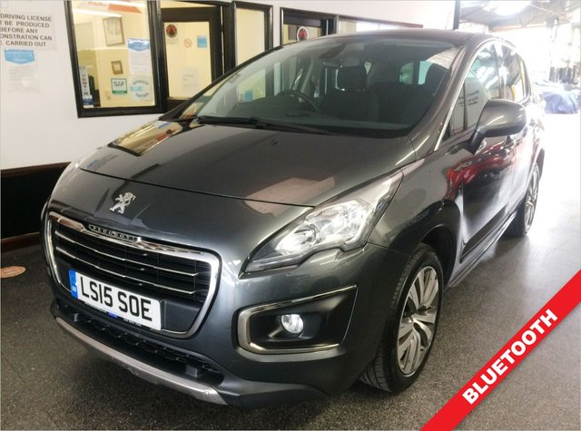 """USED 2015 15 PEUGEOT 3008 1.6 E-HDI ACTIVE 5d 115 BHP This 22300 miles semi auto £20 Tax 3008 Active is finished in Vapor grey metallic with cloth seats. It is fitted with Paddle shift gearbox, park assist, LED daylights, bluetooth, cruise control, chrome pack, power steering, remote locking, electric windows and power fold mirrors, 17"""" alloy wheels, spacer saver, CD Stereo/USB/aux port and more. It comes with a Peugeot and independent service history, with stamps done at 10082/22828/28839 miles. The current Mot runs till March 2022."""