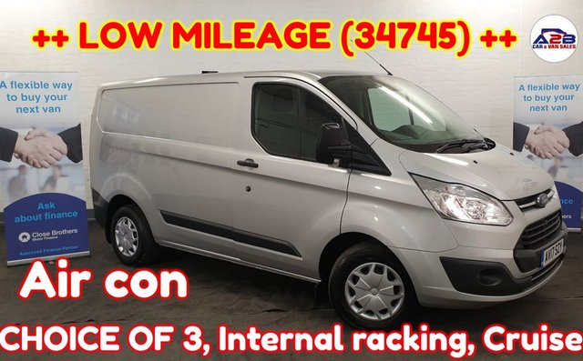 USED 2017 17 FORD TRANSIT CUSTOM 2.0++ LOW MILEAGE (34745) ++ ++ CHOICE OF 3 ++ Bluetooth, Aircon, Cruise, Auto headlights, Heated windscreen, Electric Mirrors, Electric windows and much more ... ++LOW MILEAGE++