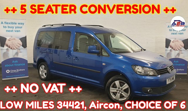 USED 2015 15 VOLKSWAGEN CADDY MAXI 1.6 C20 LIFE TDI ++ 5 SEATER CONVERSION ++ ++ CHOICE OF 6 ++ ++ AUTOS AND MANUALS ++ ++ LOW MILEAGE (34421) ++ NO VAT TO PAY ++ Aircon, 5 seats, Electric Windows, Electric Mirrors and much more ... ++ LOW MILEAGE ++