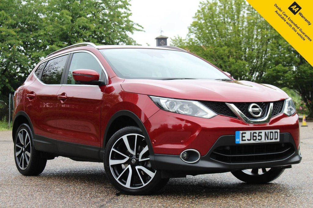 USED 2015 65 NISSAN QASHQAI 1.6 DCI TEKNA 5d 128 BHP ** FULL NISSAN MAIN DEALER SERVICE HISTORY ** BRAND NEW ADVISORY FREE MOT + NEW SERVICE ** HEATED LEATHER + ELECTRIC SEAT ** SAT NAV ** 360 CAMERAS + PARK ASSIST ** BLIS (BLIND SPOT MONITORING AND LANE DEPARTURE WARNING) ** CRUISE CONTROL ** CLIMATE CONTROL ** BLUETOOTH ** AUTO LIGHTS + WIPERS ** ONLY £30 ROAD TAX ** LOW RATE 0 DEPOSIT FINANCE AVAILABLE ** NATIONWIDE DELIVERY AVAILABLE ** CLICK AND COLLECT AVAILABLE **