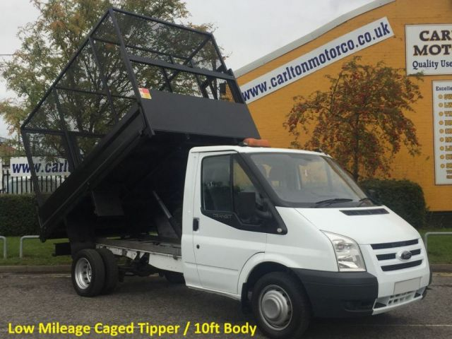 2011 61 FORD TRANSIT T350m Tipper Caged 10.5ft body Low Miles Free UK Delivery