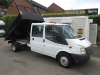 2012 FORD TRANSIT  350  DOUBLE CAB  6 SEATER TIPPER,  STEEL BODY TWIN WHEEL,  6 SPEED, TURBO DIESEL TOW PACK    EX LEASE FULL SERVICE HISTORY  £SOLD