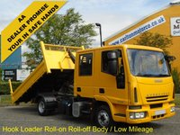 USED 2008 58 IVECO-FORD EUROCARGO  D/Crew Cab Hook Loader Roll On- Off Demount Body, Low Mileage Free UK Delivery