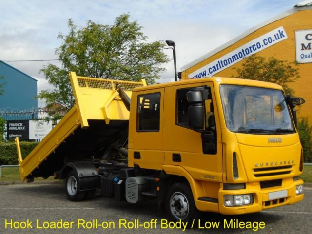 2008 58 IVECO-FORD EUROCARGO  D/Crew Cab Hook Loader Roll On- Off Demount Body, Low Mileage Free UK Delivery
