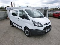 2014 FORD TRANSIT CUSTOM 2.2TDCI T290 Lowroof DCIV Double Cab in Van - CREW VAN - Mint Condition - Very Low miles £11995.00